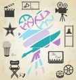 Old colorful movie camera vector image