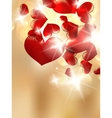 Abstract bokeh bright with red hearts vector image