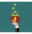 Coins falling to retro money purse vector image