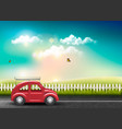 countryside landscape with a road and a red car vector image