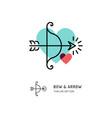 cupid bow and arrow archery line icons wedding vector image