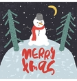 Decorative greeting card with snowman and trees vector image