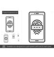 Fingerprint password line icon vector image