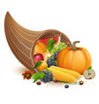 full cornucopia for thanksgiving feast day rich vector image