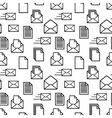 Black icons of documents and envelopes on white vector image