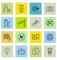 set of 16 traveling icons includes call duration vector image