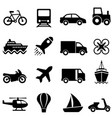 air water and land transportation icon set vector image vector image