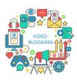 video blogging flat line concept vector image