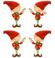 Red Elf Holding Mistletoe vector image