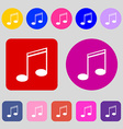 Music note sign icon Musical symbol 12 colored vector image