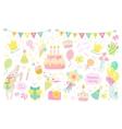 Happy birthday celebration icons vector image