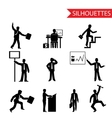 black businessman silhouettes icons set isolated vector image