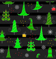christmas seamless pattern on black background vector image