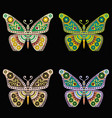 set of embroidery pattern with butterfly on black vector image