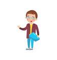 smart boy in glasses preschool activities and vector image