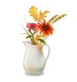 Autumn Flowers in Jug vector image