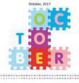 October 2017 puzzle calendar vector image vector image