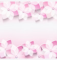 Trendy abstract pink background with 3d sakura vector image