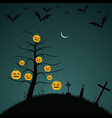 Halloween background with bats pumpkins vector image vector image