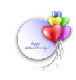 3d realistic red heart balloons flying with love vector image