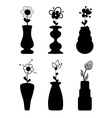 Different slyle of vases with flowers vector image vector image