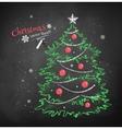Christmas tree on black chalkboard background vector image