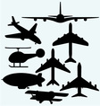Set jets dirigible helicopter vector image