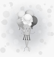 Black-and-white poster - humanoid waffle ice vector image