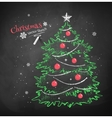 Christmas tree on black chalkboard background vector image