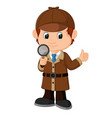 detective boy cartoon vector image