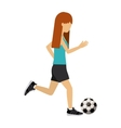female athlete practicing football soccer vector image