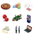 isometric casino icons set laptop with roulette vector image