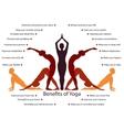Yoga infographics benefits of yoga practice vector image