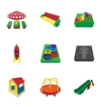 Park in yard icons set cartoon style vector image