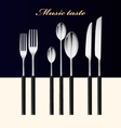 Cutlery Spoon fork and knife stacked up on table vector image