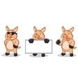 Cream Pig Mascot happy vector image