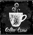 cup of coffee on a black background vector image