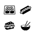 fast food simple related icons vector image
