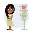 girl and traffic light vector image
