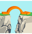 orange arch-shaped arrow spanning across rocky vector image