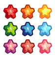 set of colored crystal stars vector image