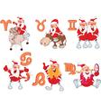 Set of Zodiac symbols with Cute Santa Claus vector image