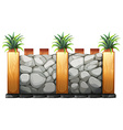 Fence made from stones and wood vector image