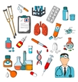 Medical tools and treatment icons vector image