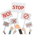 Protest concept Hands holding different signs No vector image