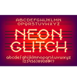neon glitch typeface 01 vector image