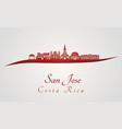 san jose skyline in red vector image vector image