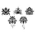 Ornate indian and persian floral design set vector image vector image