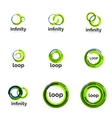 Loop infinity business icon set vector image