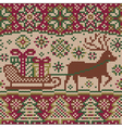 New year knitted pattern with reindeer vector image